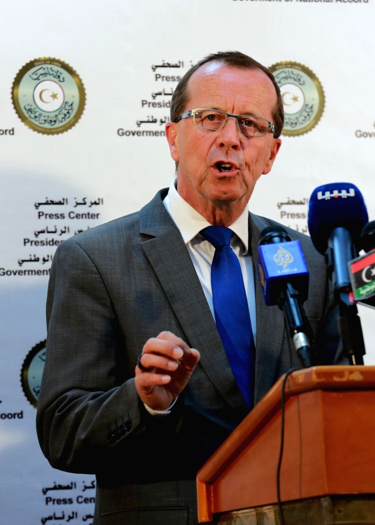 TRIPOLI, April 17, 2016 - Martin Kobler, UN special envoy and head of UN Support Mission in Libya, speaks during a press conference in Tripoli, Libya, April 17, 2016.