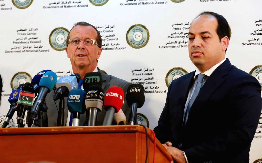 TRIPOLI, April 17, 2016 - Martin Kobler, UN special envoy and head of UN Support Mission in Libya, speaks during a press conference with Libyan deputy prime minister of the UN-backed government Ahmed ...