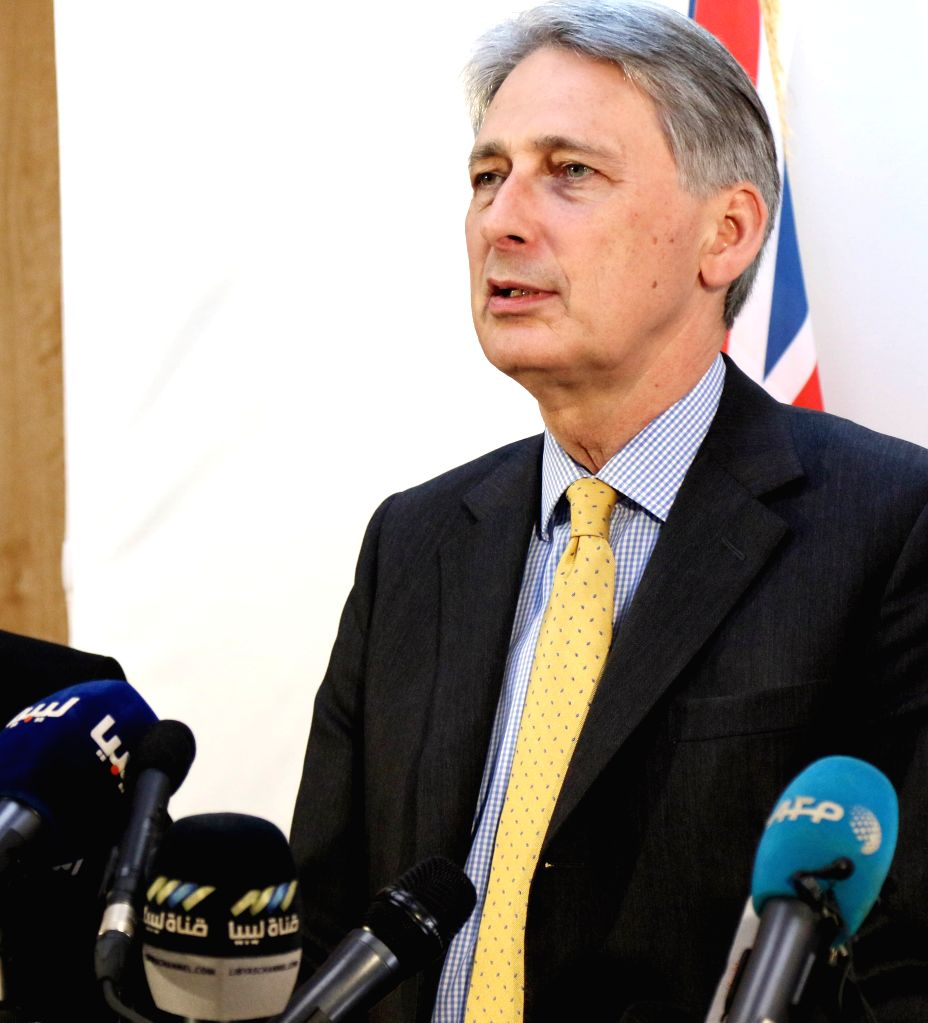 TRIPOLI, April 18, 2016 - British Foreign Secretary Phillip Hammond speaks during a press conference in Tripoli, capital of Libyan, on April 18, 2016. British Foreign Secretary Phillip Hammond and ...