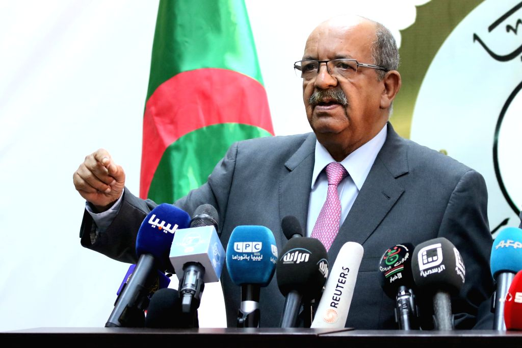 TRIPOLI, April 20, 2016 - Abdelkader Messahel, Algerian Minister of Maghreb Affairs, African Union and Arab League, speaks during a press conference in Tripoli, Libya, on April 20, 2016.