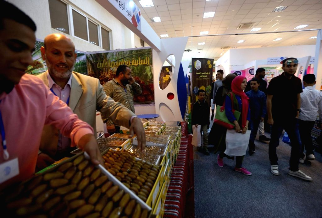 TRIPOLI, April 3, 2018 - Exhibitors display their goods on the 46th Libyan Tripoli International Fair in Tripoli, Libya, on April 2, 2018. The 46th Libyan Tripoli International Fair kicked off on ...