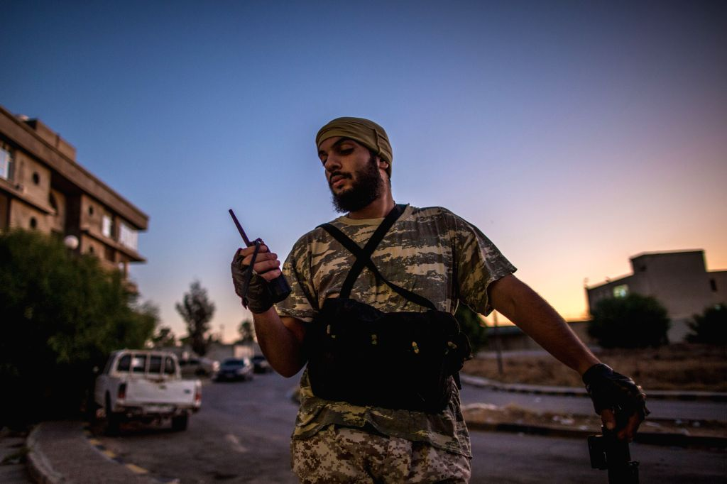 TRIPOLI, Aug. 18, 2019 - A fighter of the UN-backed Government of National Accord (GNA) is seen in their base near Salah Al-Din frontline in Tripoli, Libya, on Aug. 17, 2019. Since early April, the ...