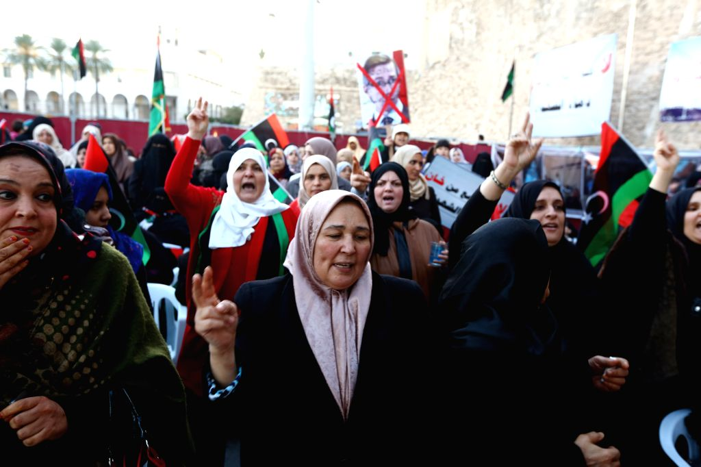 Hundreds of Libya Dawn supporters demonstrate in the Martyr Square in Tripoli, Libya, on Jan. 16, 2015. A new round of Libyan political discussions kicked off in ...