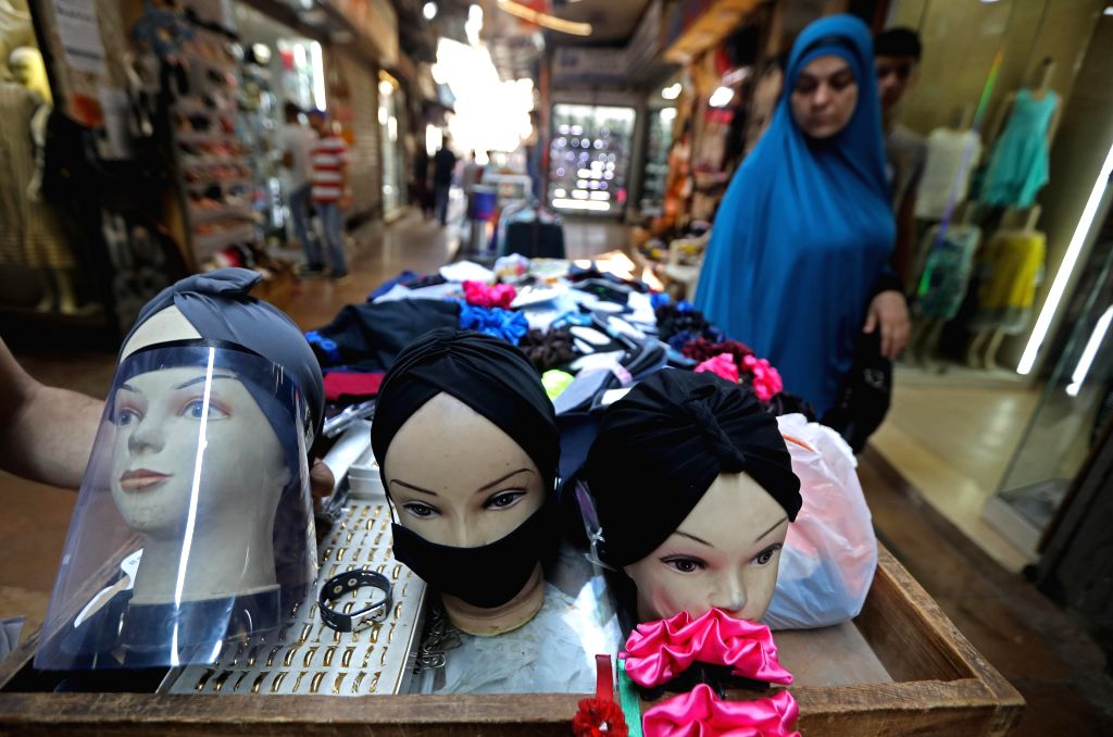 Tripoli (Lebanon), Sept. 12, 2020 Mannequins with face coverings and a shield are seen at an old market in Tripoli, Lebanon, on Sept. 12, 2020. Lebanon registered on Saturday 686 new ...