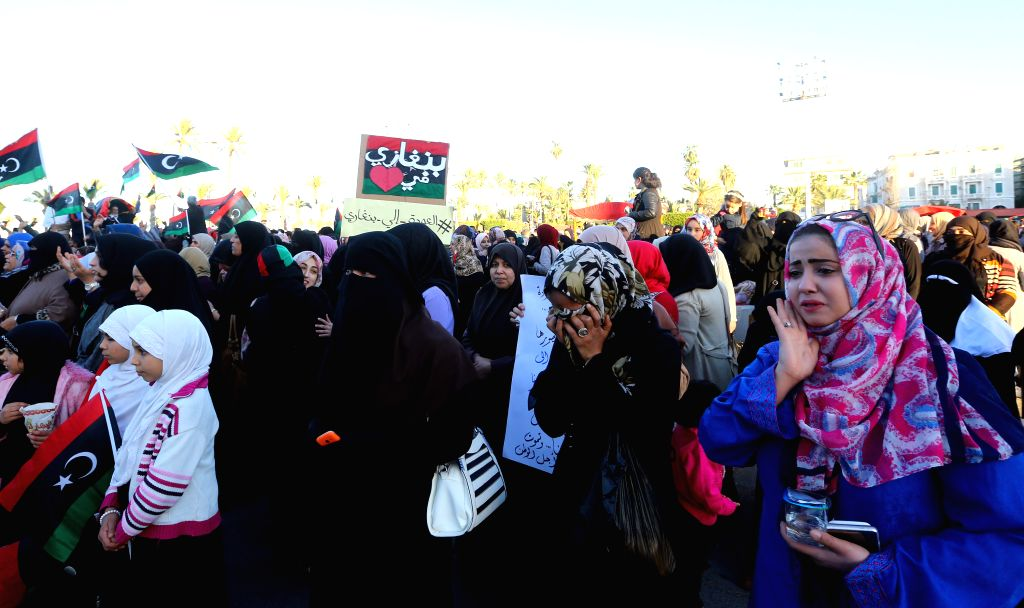 TRIPOLI, March 10, 2017 - Libyans take part in a demonstration to protest against Maj. Gen. Khalifa Haftar and in support of Benghazi Defense Brigades (BDB) at Martyrs' Square in Tripoli, capital of ...