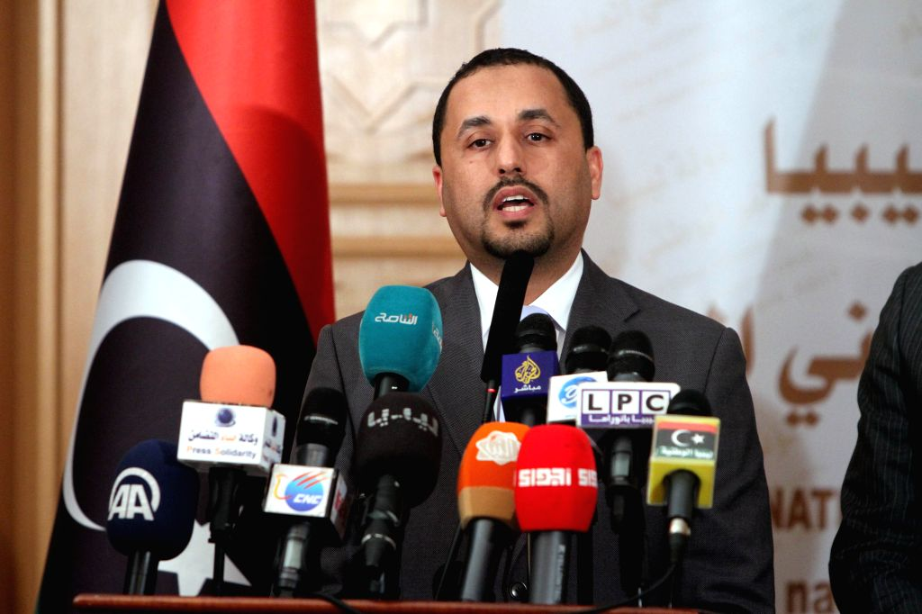 Saleh al-Makhzoum, second deputy president of the Islamist-backed parliament General National Congress (GNC), addresses a press conference in Tripoli, Libya, on ...