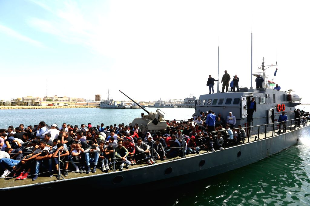 TRIPOLI, May 10, 2017 (Xinhua) -- Migrants arrive at a naval base in Tripoli, capital of Libya, on May 10, 2017. Libyan navy on Wednesday rescued more than 300 migrants off the coast of Sabratha in western Libya as they were on their way to Europe. (