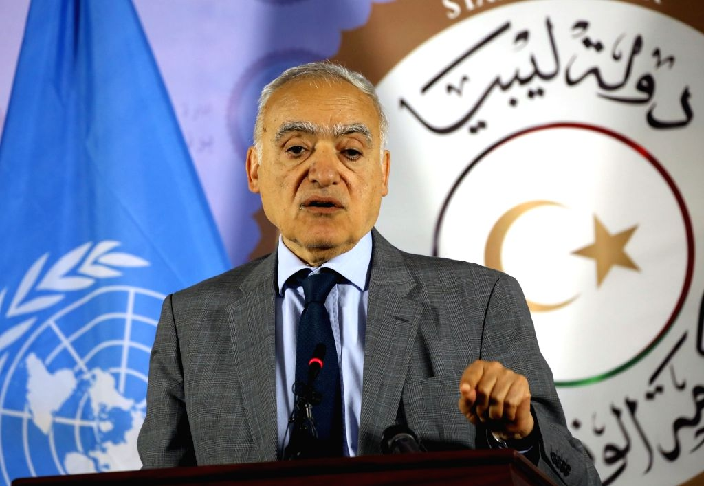 TRIPOLI, Sept. 12, 2018 (Xinhua) -- The UN envoy to Libya Ghassan Salame addresses a press conference in Tripoli, capital of Libya, on Sept. 12, 2018. The UN envoy to Libya Ghassan Salame on Wednesday announced readiness to deal with violations of th