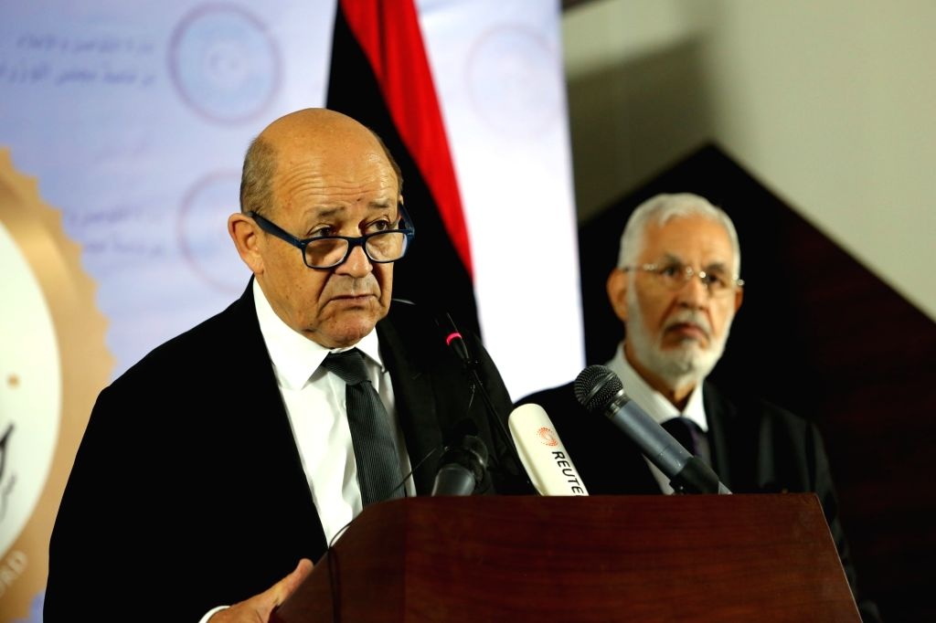 TRIPOLI, Sept. 4, 2017 - Libya's UN-backed foreign minister Mohamed Sayala (R) and French foreign minister Jean-Yves Le Drian attend a press conference in Tripoli, Libya, on Sept. 4, 2017. Libyan and ... - Mohamed Sayala