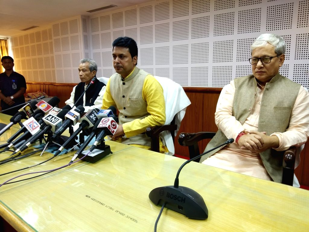 Tripura Chief Minister Biplab Kumar Deb addresses a press conference in Agartala on Feb 15, 2019. Also seen Deputy Chief Minister Jishnu Debbarma. - Biplab Kumar Deb