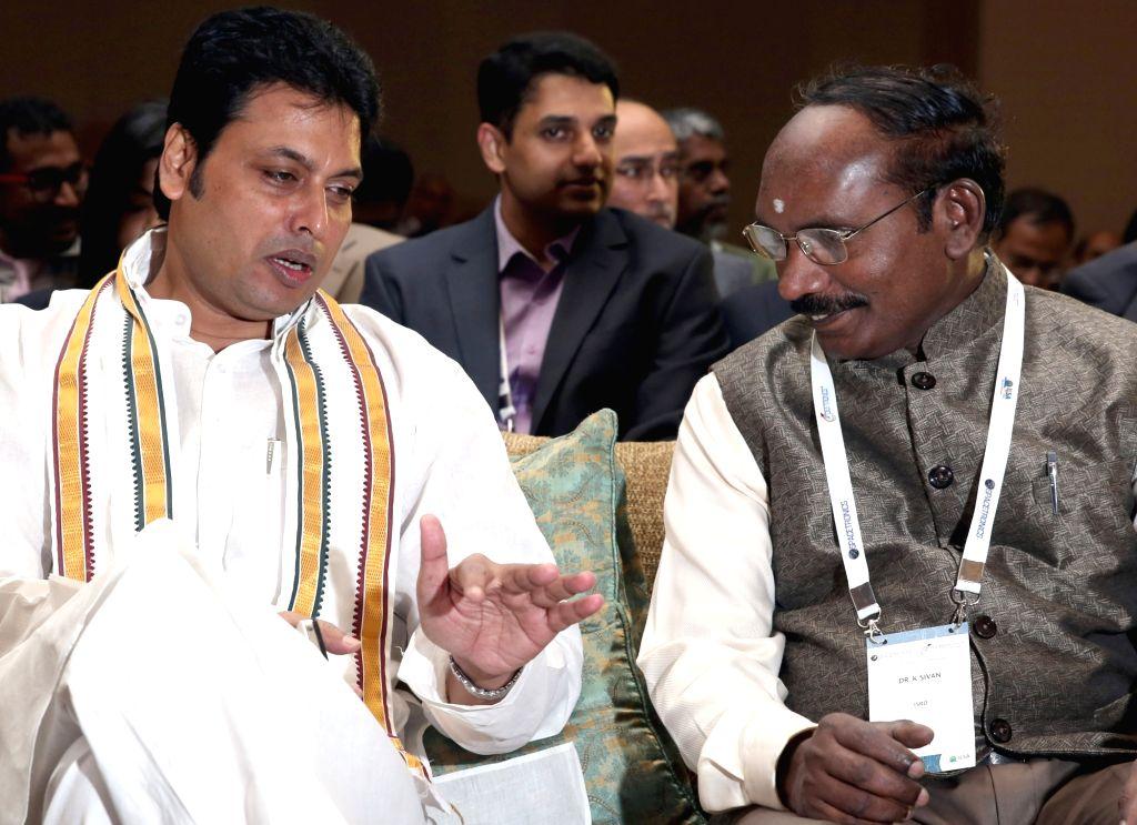"Tripura Chief Minister Biplab Kumar Deb and ISRO Chairman Dr. K Sivan at the inauguration of  ""SPACETRONICS 2018"" in Bengaluru on Sept 18, 2018. - Biplab Kumar Deb"