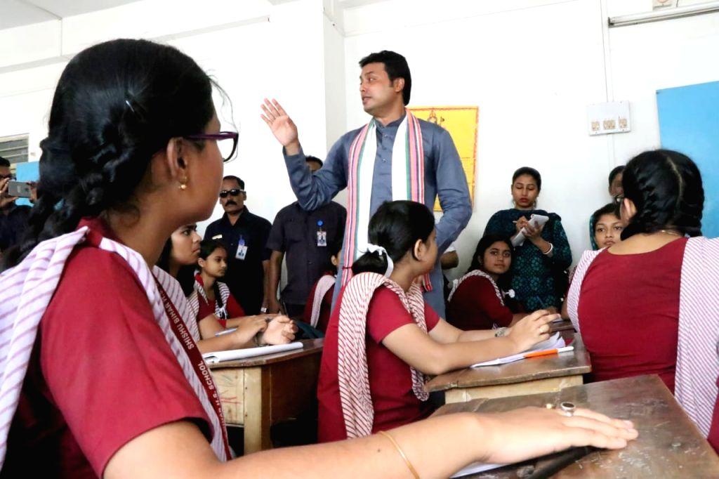 Tripura Chief Minister Biplab Kumar Deb interacts with students of Shishu Bihar Higher Secondary School during Teachers' Day celebrations, in Agartala on Sep 5, 2019. - Biplab Kumar Deb