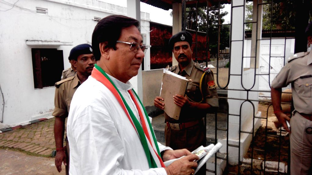 Tripura Congress chief Birajit Sinha accused in a case of possessing illegal bullets surrenders before a court in Kailashahar, Tripura on Oct 31, 2015. - Birajit Sinha