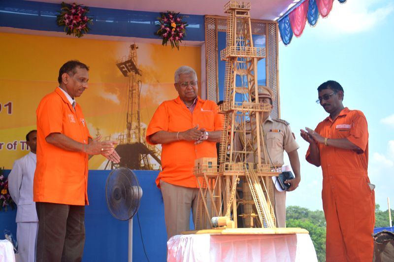 Tripura Governor Tathagata Roy (middle) switching on the ONGC rig in Kunjaban field in western Tripura. ONGC Executive Director S. C. Soni (right side of governor) looks on. - Tathagata Roy