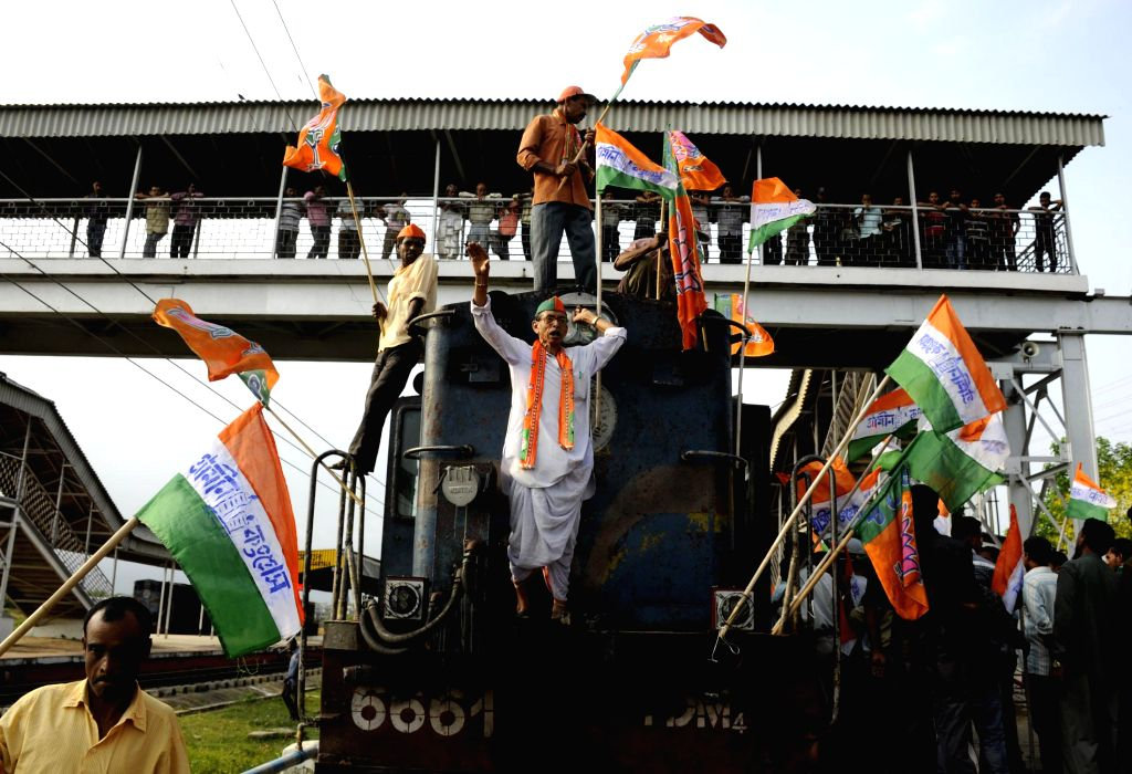 Tripura Pragatisheel Gramin Congress (TPGC) workers stage a demonstration on railway tracks disrupting railway services to press for their demands of re-elections and removal of Chief Electoral ...