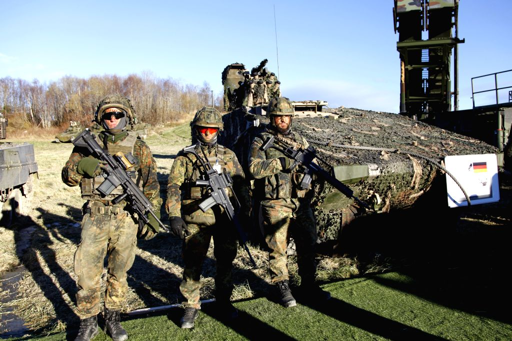 TRONDHEIM, Oct. 31, 2018 - German soldiers take part in the Trident Juncture 2018 exercise at a waterfront site near Trondheim, Norway, Oct. 30, 2018. NATO on Tuesday showcased its air, sea and land ...