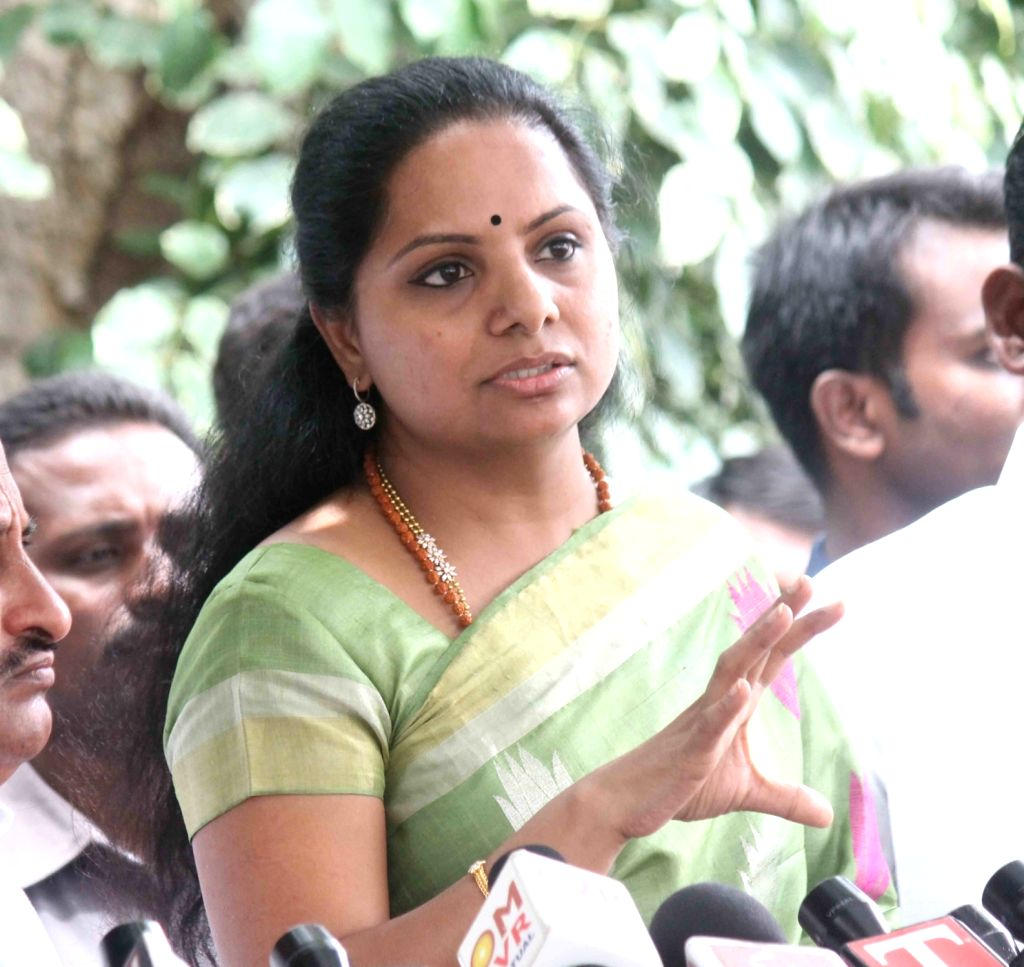 TRS K Kavitha addresses a press conference in Hyderabad on June 17, 2016.