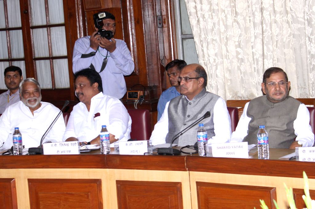 TRS leader A.P. Jitender Reddy, JD (U) leader K.C. Tyagi and JD (U) chief Sharad Yadav during all party meeting at Parliament House, in New Delhi on July 20, 2015. - P. Jitender Reddy and Sharad Yadav