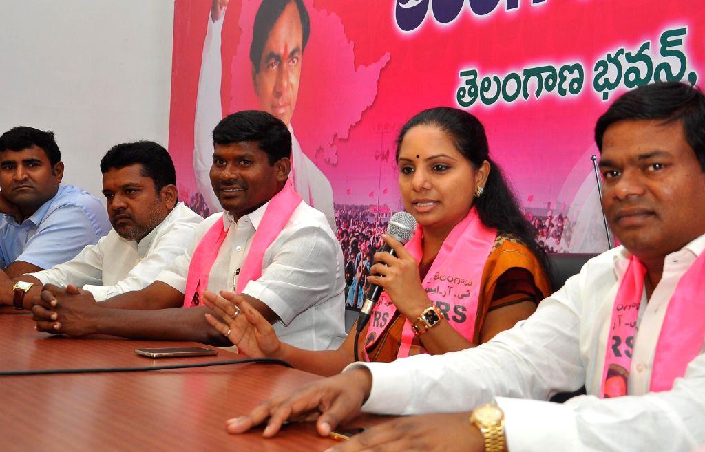 TRS leader and Nizamabad (Telangana) MP Kalvakuntla Kavitha addresses a press conference in Hyderabad on Aug 28, 2014.