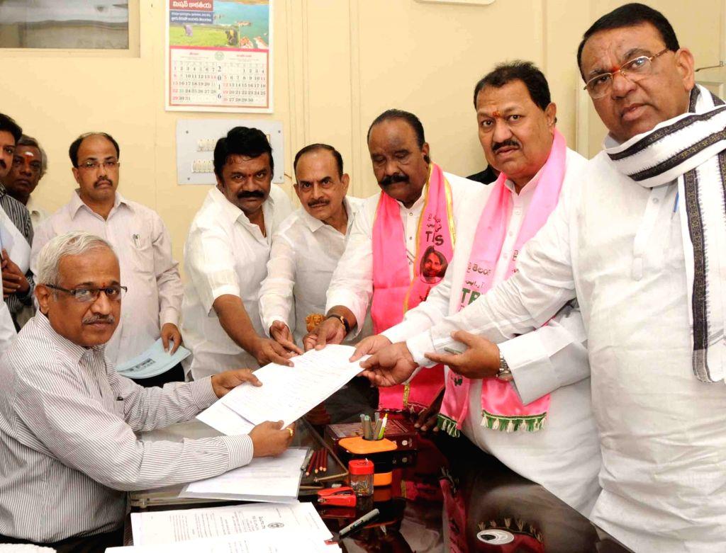 TRS leader D. Srinivas files nomination for elections to Rajya Sabha at Telangana Assembly in Hyderabad, on May 31, 2016.