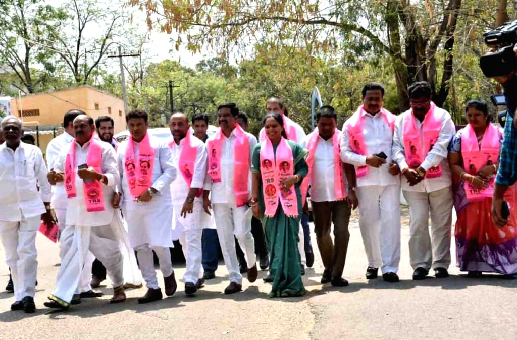 TRS leader K. Kavitha arrives after filing her nomination papers for the Nizamabad Local Bodies election at the District Collectorate in Telangana's Nizamabad on March 18, 2020.