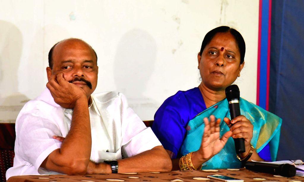 TRS leader Konda Surekha addresses a press conference, in Hyderabad on Sept 8, 2018.