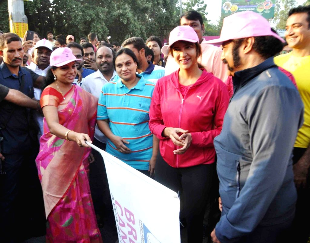 TRS MP from Nizamabad K Kavita and actor Nandamuri Balakrishna flag off breast cancer awareness walk in Hyderabad on Oct 26, 2016. - Nandamuri Balakrishna