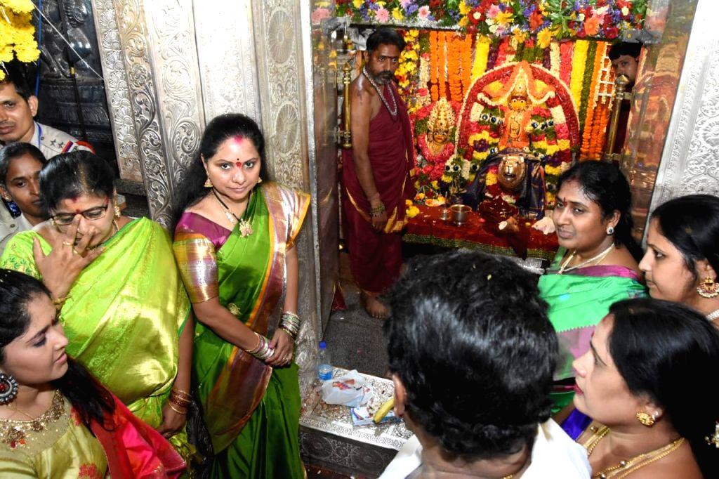 TRS MP from Nizamabad K. Kavita performs rituals at Sri Ujjaini Mahakali Devasthanam in Secunderabad, Telangana on July 21, 2019.