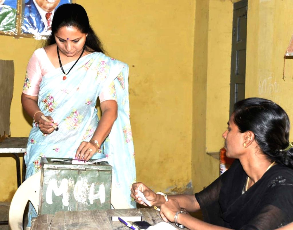 TRS MP from Nizamabad, K. Kavitha casts her vote for elections to the first phase of the three-phased Mandal Parishad Territorial Constituencies (MPTC) and Zilla Parishad Territorial ...