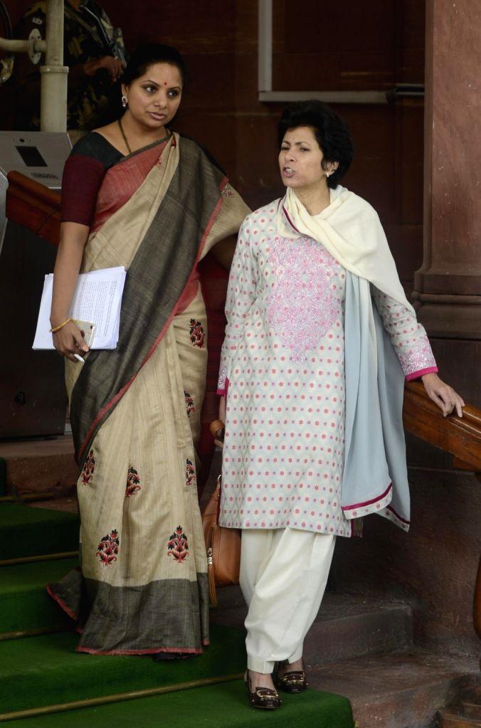 TRS MP K Kavitha and Congress MP Selja Kumari at the Parliament in New Delhi on Nov 29, 2016.