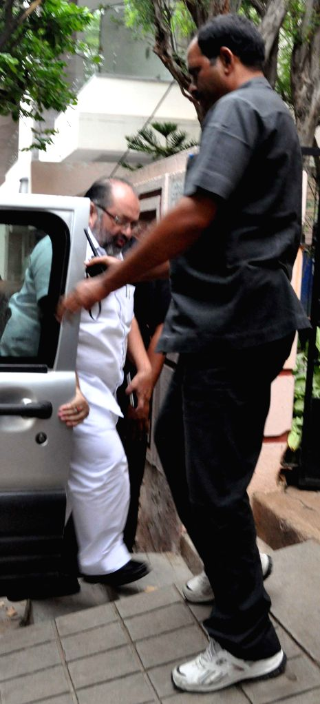 TRS nominated MLA Elvis Stephenson arrives at his residence in Hyderabad on June 29, 2015. The Hyderabad High Court quashed the plea filed by him in a cash-for-vote case seeking the ...