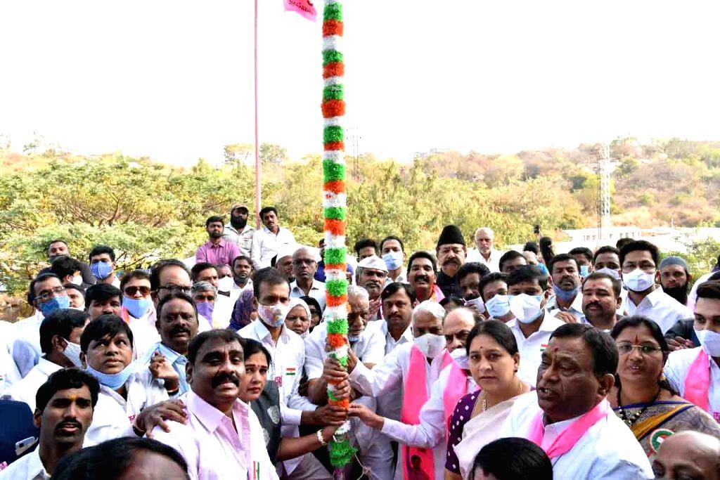 TRS party MP K Keshav Rao unfurled national flag at TRS bhavan, Hyderabad on 26 Jan 2021 - K Keshav Rao
