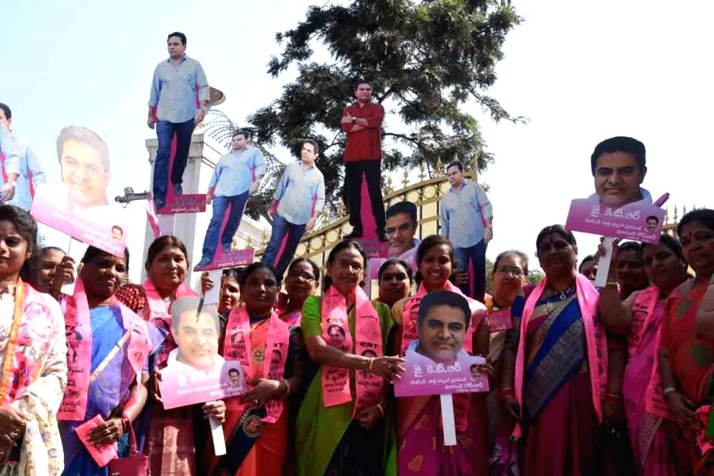 TRS workers celebrate after the ruling party swept the Telangana municipal elections, capturing power in over 100 out of 120 municipalities and seven out of nine municipal corporations, in ...