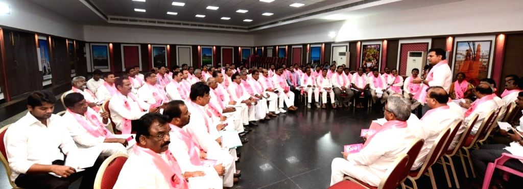 TRS Working President K.T. Rama Rao addresses party workers during a party meeting, in Hyderabad on July 26, 2019. - T. Rama Rao