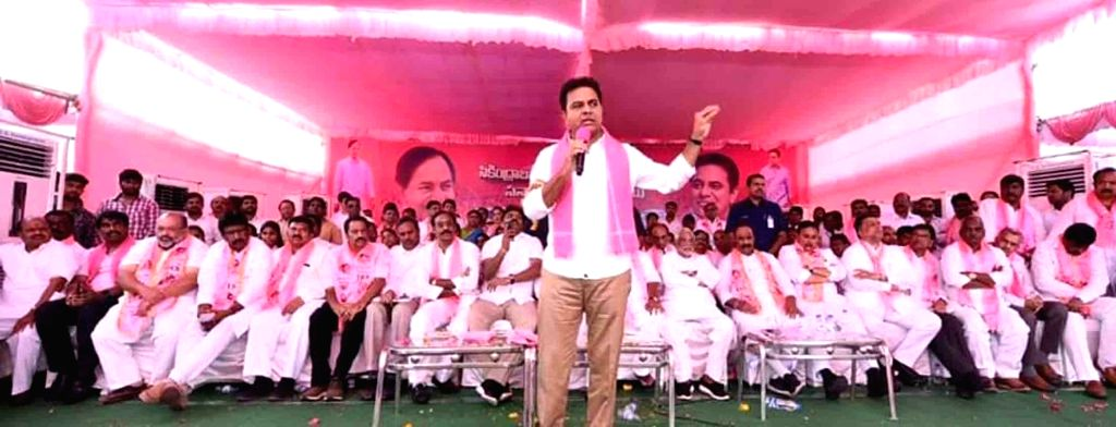 TRS Working President K. T. Rama Rao addresses a party meeting in Kamareddy, Telangana on March 13, 2019.