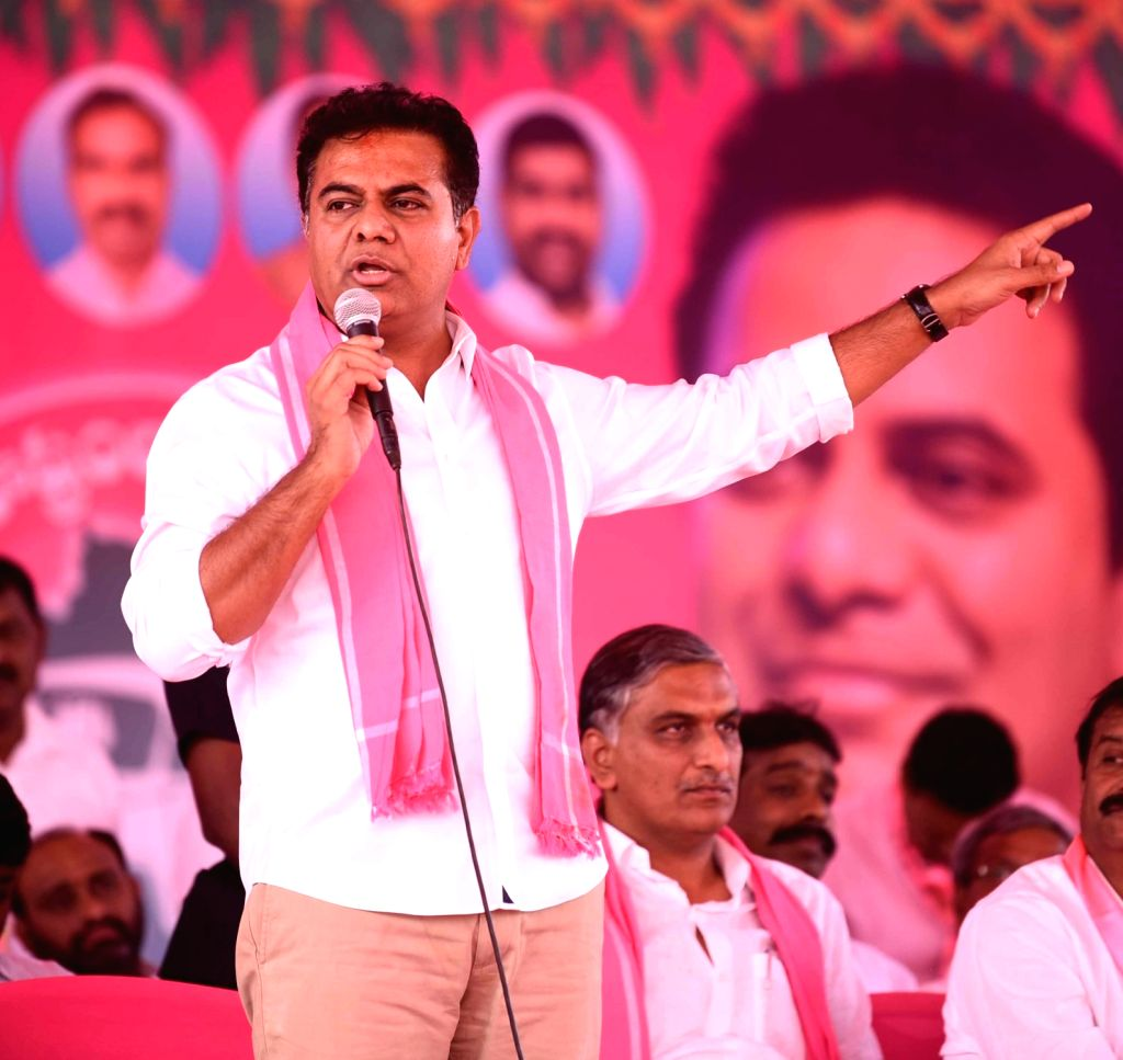 TRS Working President K T Rama Rao during a party programme in Medak district of Telangana on March 8, 2019.