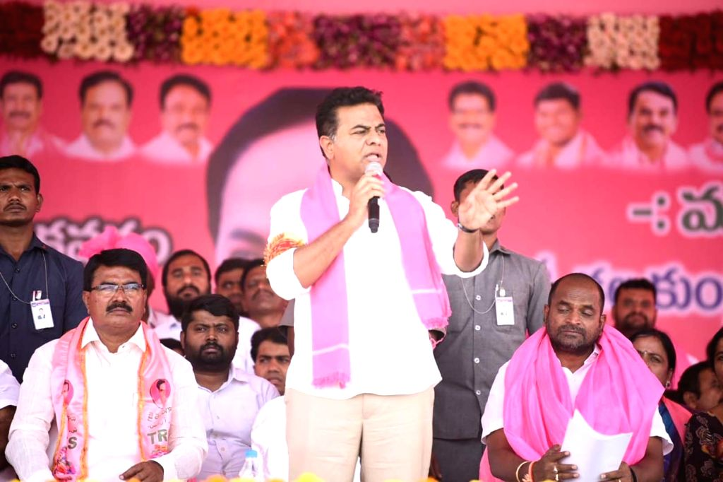 TRS Working President K T Rama Rao during a party programme in Wanaparthy on March 9, 2019.