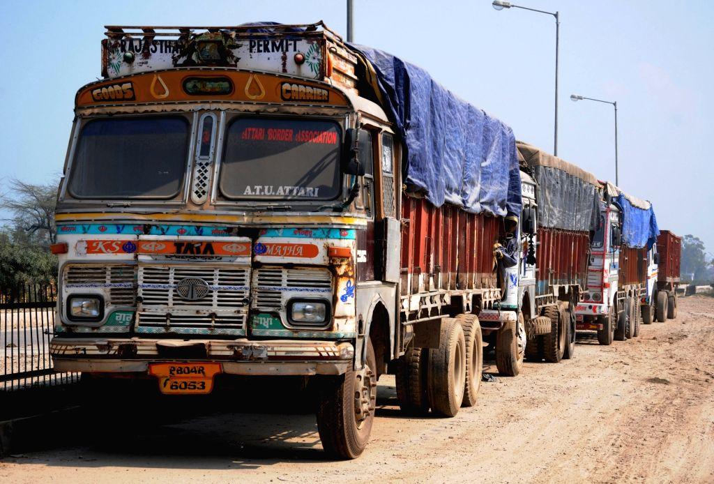 Trucks seen at the Attari-Wagah Road Integrated Check Post, in Punjab, on Feb 25, 2019.