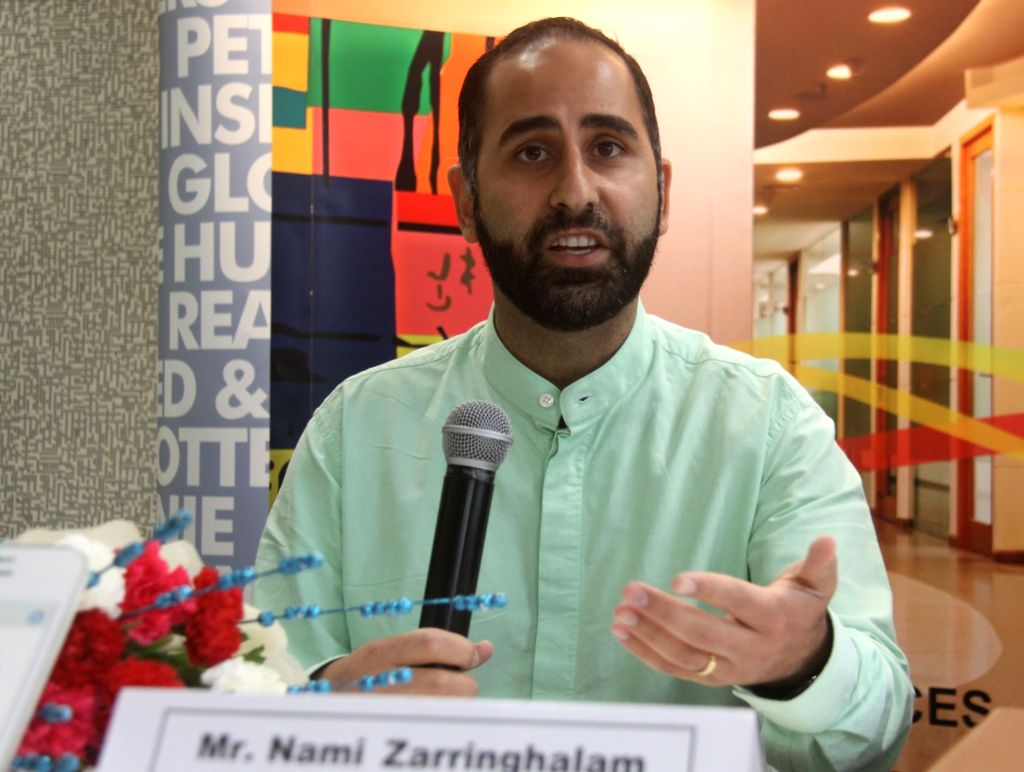 Truecaller Co-founder and Chief Strategy Officer Nami Zarringhalam addresses during a press conference in Gurugram, on June 15, 2017.