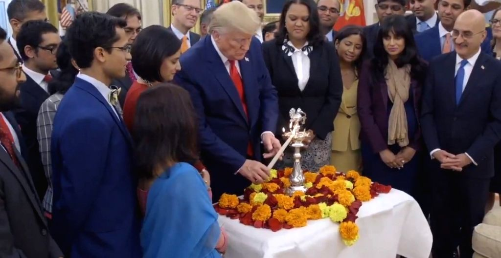 Trump lights lamp in Oval Office, wishes Happy Diwali