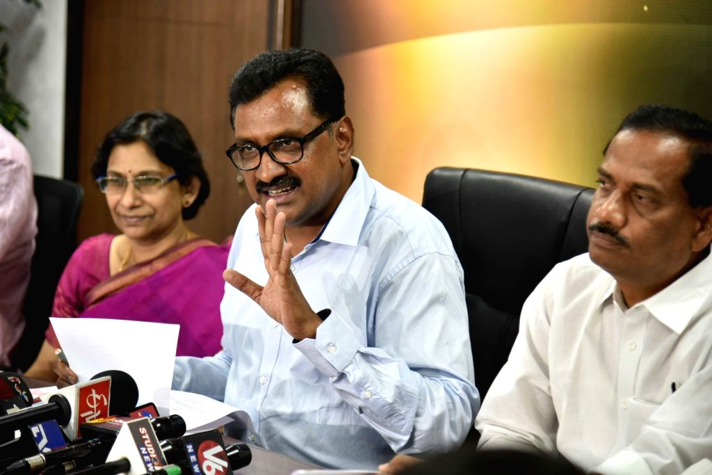 TSPSC chairman Ghanta Chakrapani addresses a press conference in Hyderabad on June 1, 2017.