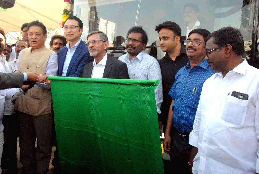 TSRTC Managing Director Sunil Sharma, BYD India and Asia Pacific Managing Director Liu Xueliang and Olectra Managing Director NK Rawal flags off Olectra-BYD electric buses at Miyapur depot ... - Sunil Sharma