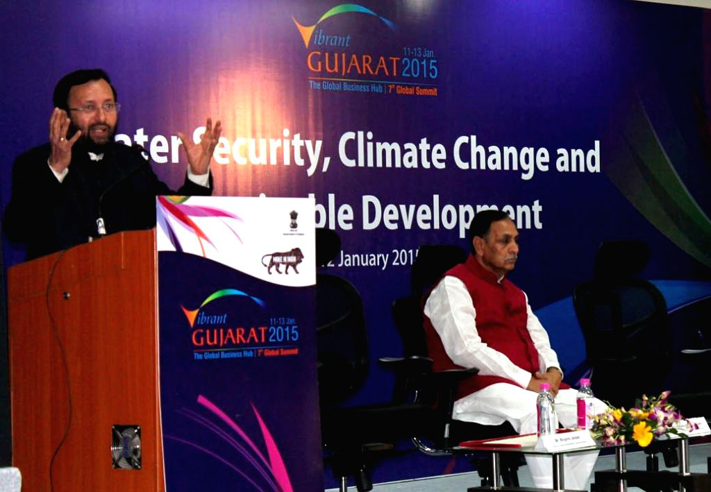 TThe Union Minister of State for Environment, Forest and Climate Change (Independent Charge), Prakash Javadekar delivers the keynote address at a seminar on Water Security, Climate Change and ...