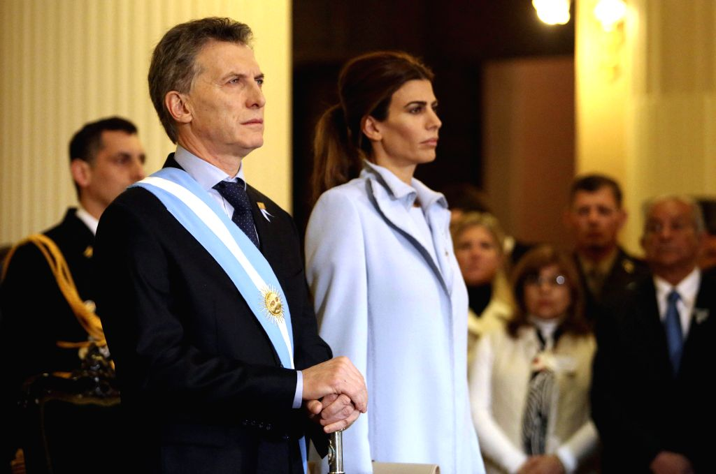 TUCUMAN, July 10, 2016 - Argentine President Mauricio Macri (L, front) and his wife Juliana Awada (R, front) participate in the Independence Day commemoration in Tucuman, Argentina, on July 9, 2016. ...
