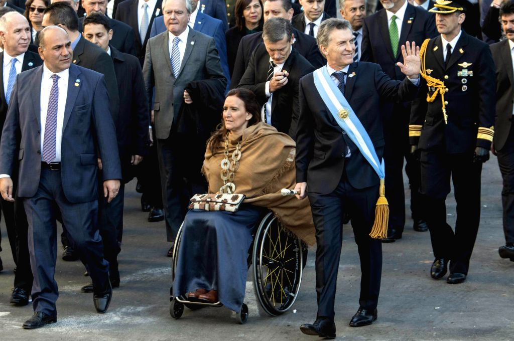 TUCUMAN, July 10, 2016 - Argentine President Mauricio Macri (R, front) participates in the Independence Day commemoration in Tucuman, Argentina, on July 9, 2016. President Mauricio Macri led official ...