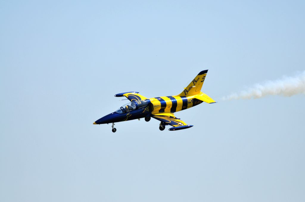 TUKUMS (LATVIA), July 20, 2019 An aircraft of Baltic Bees Jet Team performs during the international air show Wings Over Baltics 2019 at Jurmala Airport in Tukums, Latvia, on July 20, ...