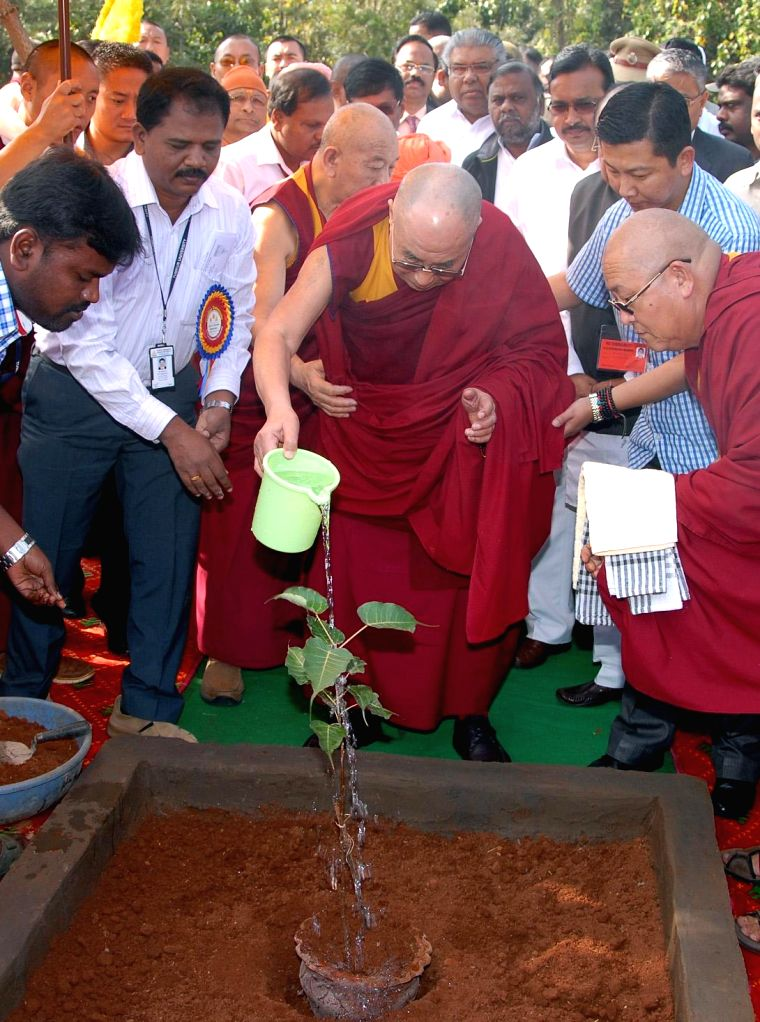 Dalai Lama the spiritual head of Tibetan Buddhists during the International conference on Ethics in the new Millennium organised by Tumkur University, in Tumkur on Dec 21, 2014.