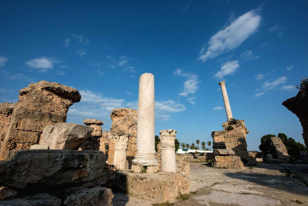 TUNIS, April 3, 2019 - Photo taken on April 2, 2019 shows the ruins of Antonin Baths, part of the archaeological site of Carthage, also a UNESCO World Heritage Site, in Municipality of Carthage, ...