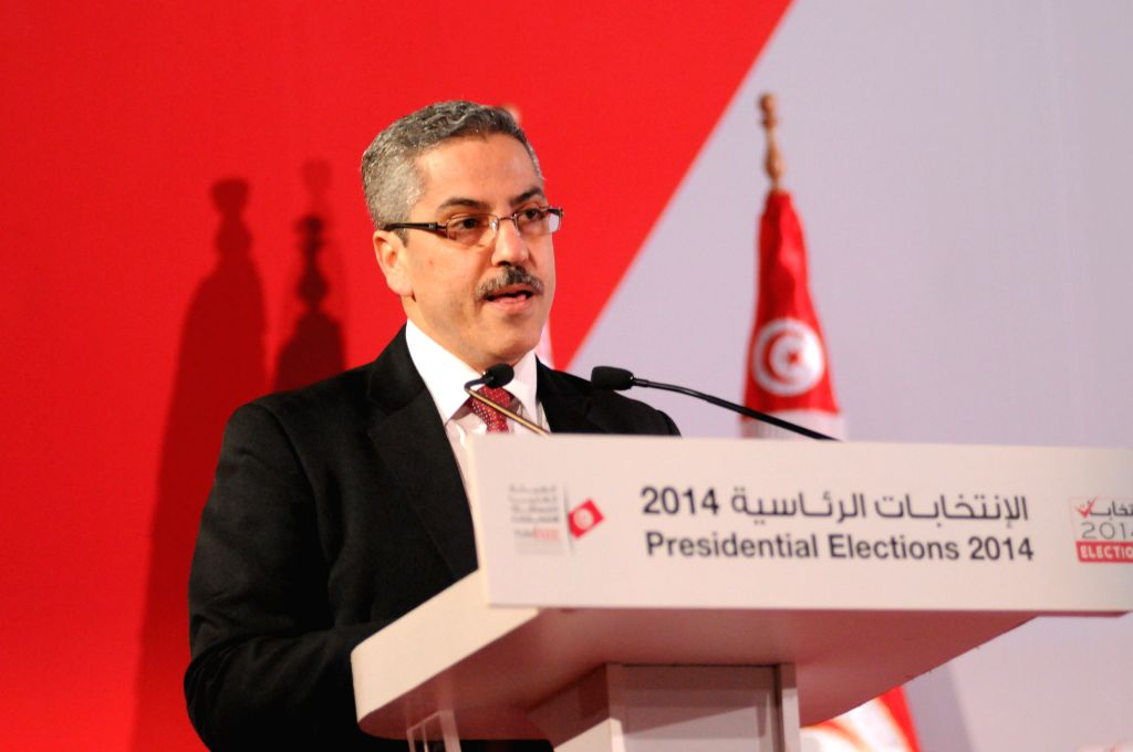 Chafik Sarsar, head of the Elections Board (ISIE), announces the final results of the runoff of Tunisia's 2014 presidential elections in Tunis, capital of Tunisia, on