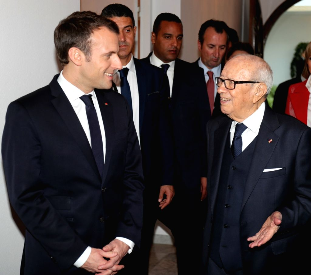 TUNIS, Feb. 1, 2018 - Tunisian President Beji Caid Essebsi (R, front) meets with his French counterpart Emmanuel Macron (L, front) in Tunis, capital of Tunisia, on Jan. 31, 2018.